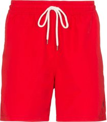 polo ralph lauren traveller drawstring swim shorts - red