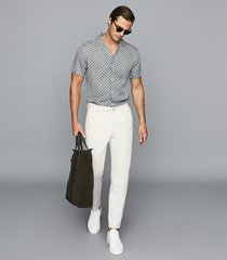reiss rocky - chain print cuban collar shirt in airforce blue, mens, size xxl