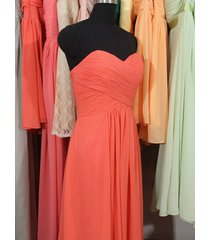 a-line sweetheart sleeveless coral chiffon bridesmaid dress coral formal dress
