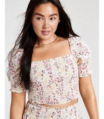 dizzy lizzy ditsy floral-print smocked top
