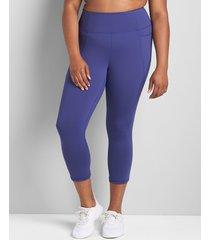 lane bryant women's livi high-rise wicking capri legging with pockets - hem detail 10/12 twilight blue