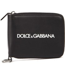 dolce & gabbana black leather wallet with metal chain & logo