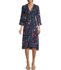 ted baker london women's floral-print wrap dress - dark blue - size 2 (6)