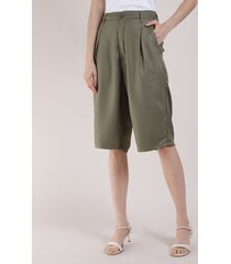 bermuda feminina mindset cintura alta alfaiatada com bolsos verde militar