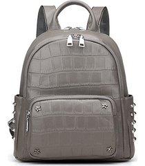 mochilas/ mochila de cuero real split mochilas de-gris