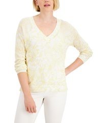 charter club cotton printed open-knit sweater, created for macy's