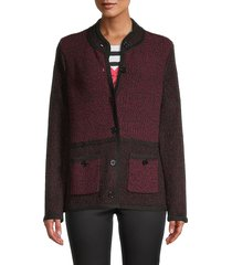 karl lagerfeld paris women's marled knit cardigan - mulled wine - size xs
