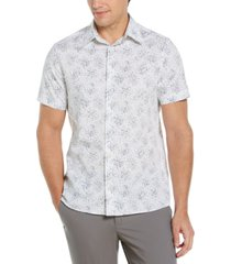 men's cluster of oil print short sleeve stretch button - down shirt