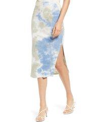women's heartloom blair tie dye stretch cotton midi skirt, size x-small - green