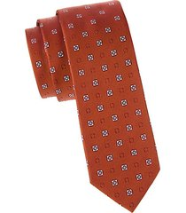 geometric & logo silk tie