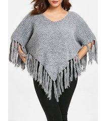 plus size tassel hem pullover sweater