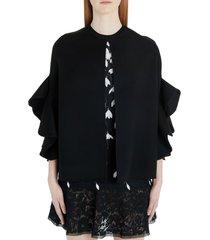 women's valentino ruffled wool & cashmere cape, size 12 us - black