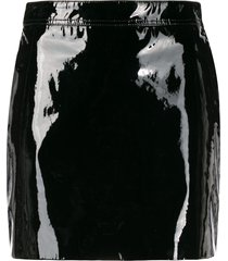 saint laurent patent leather mini skirt - black