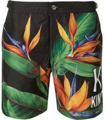 dolce & gabbana bird of prey print swim shorts - black