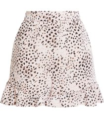 bcbgmaxazria ruffled animal-print shorts