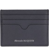 alexander mcqueen pebbled leather card holder