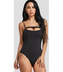 black cut out sexy bodysuit with adjustable shoulder straps