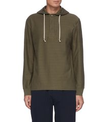 'benton' half button front cotton hoodie