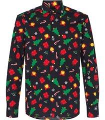 opposuits men's christmas icons black christmas shirt