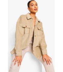 oversized jaren '90 corduroy blouse met contrasterende stiksels, taupe