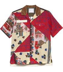 men's sacai hank willis thomas archive patchwork short sleeve button-up shirt, size 4 - yellow