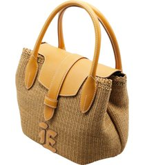 ermanno scervino raffia handbag with leather inserts and handles measuring cm. 30 x 21 x 15