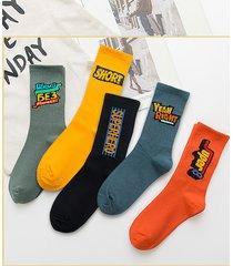 hombres hip hop style letter print super soft calcetines