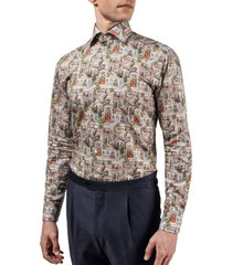 men's eton slim fit village print dress shirt, size 14.5 - red