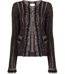 chanel pre-owned 2005 bouclé-knit cardigan - purple