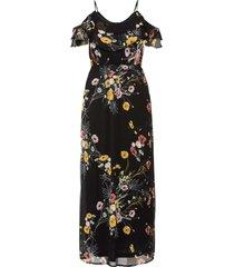 abito lungo a fiori  con cut-out (nero) - bodyflirt