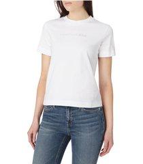 camiseta de algodón orgánico con logo gris calvin klein