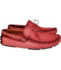 mocasin poseidon cuero patina rojo
