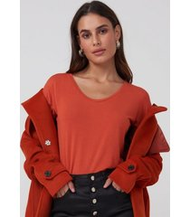 amaro feminino blusa básica u, laranja