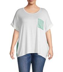 bobeau women's plus mixed media t-shirt - black floral - size 1x (14-16)