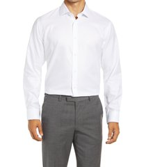 men's big & tall nordstrom trim fit non-iron dress shirt, size 18.5 - white