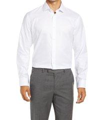 men's big & tall nordstrom trim fit non-iron dress shirt, size 18 - white