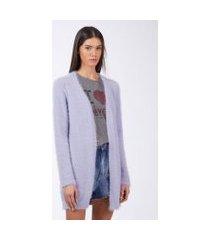 cardigan de tricot furry longo lilás