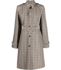 bottega veneta check single-breasted belted coat - neutrals