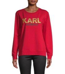 karl lagerfeld paris women's graphic cotton-blend sweater - white - size xxs