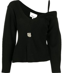 3.1 phillip lim wool ribbed off shoulder pullover - black