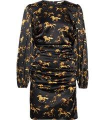 silk stretch satin kort klänning svart ganni