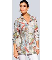 blouse alba moda offwhite::groen::blauw