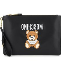 moschino pouch with teddy bear embroidery
