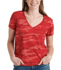 lucky brand v-neck printed cotton t-shirt