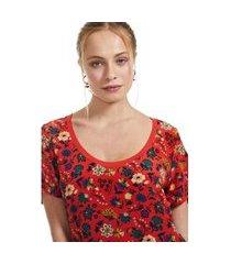 t shirt estampada malha com seda est floral himalaya fundo vermelho - p