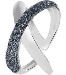 anello in ottone rodiato e glitter antracite per donna
