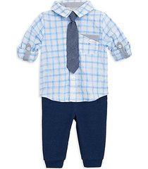 baby boy's plaid shirt, tie & jogger set