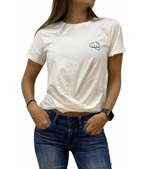 camiseta nudo beige fist mujer