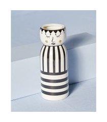 vaso em dolomita estampado cor: preto e branco - tamanho: único