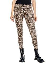 pantalón high waist efecto cuero + estampado leopardo color blue